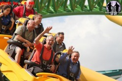 Jim Dean, Park President of BGT rides Cheetah Hunt during Employee Previews