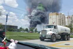 Fire Breaks out on Lot Storing Volcano Bay Slide Pieces.