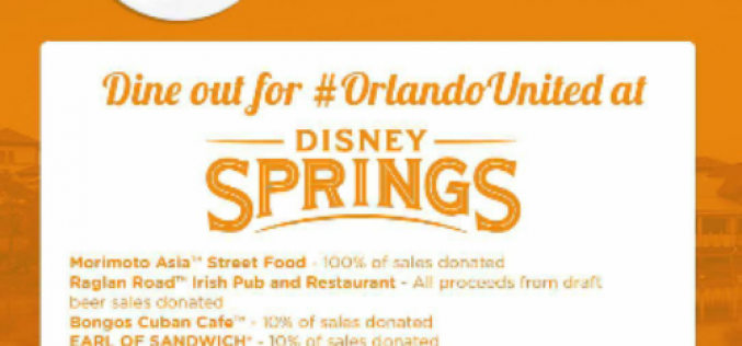Dine Out for #OrlandoUnited at Disney Springs on June 30th!