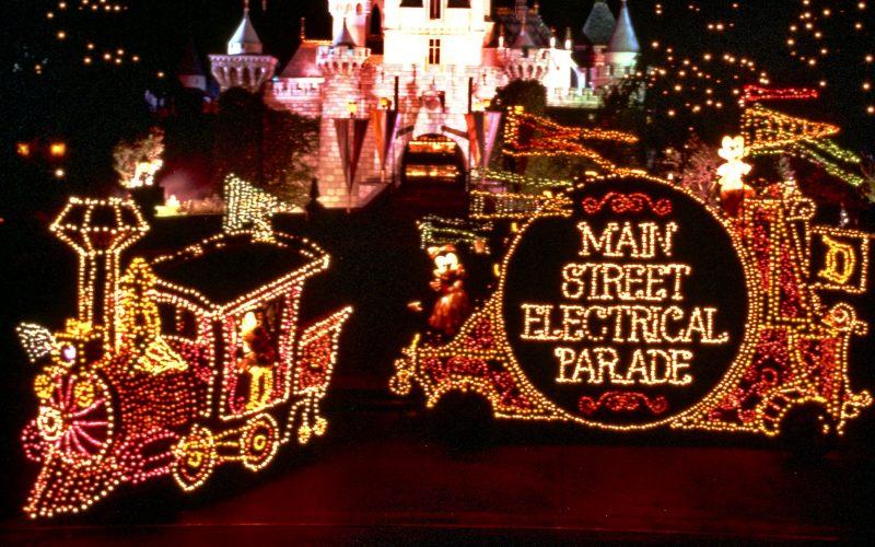 Main Street Electrical Parade leaving Magic Kingdom, heading to Disneyland
