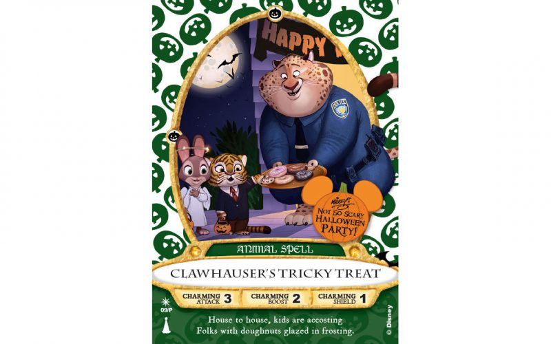 Zootopia's Clawhauser headlining Sorcerers cards for Mickey's Not So Scary