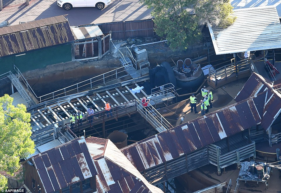 The scene at the Thunder Rivers Rapids at Dreamworld after an accident leaves four dead. Image Courtesy of The Daily Mail.